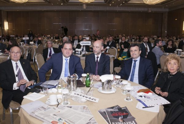 S. Kostas, G. Pitsilis (Governor of Tax Administration), S. Anastasopoulos, I. Stavropoulos and L. Panagiotopoulou at the 13th Athens Tax Forum, organized by the American-Hellenic Chamber of Commerce, April 2017