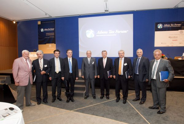 I. Stavropoulos with G. Mavraganis (Deputy Minister of Finance), members of the American-Hellenic Chamber of Commerce and speakers at the 8th Athens Tax Forum, organized by the American-Hellenic Chamber of Commerce, July 2012