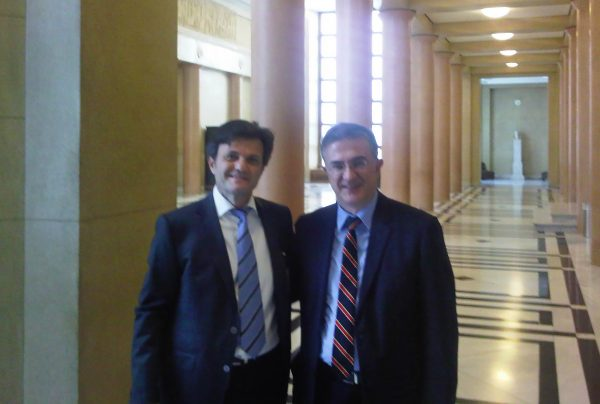 I. Stavropoulos with G. Mavraganis (Deputy Minister of Finance) at the Greek Parliament during the enactment of the Tax Procedure Code, July 2013