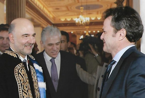 I. Stavropoulos with P. Moscovici (Commissioner for Economic and Financial Affairs, Taxation and Customs) and P. Carvounis (Head of the Representation of the European Commission in Greece) at the inauguration of P. Moscovici as Honorary Doctorate of the National and Kapodistrian University of Athens, 15 February 2017