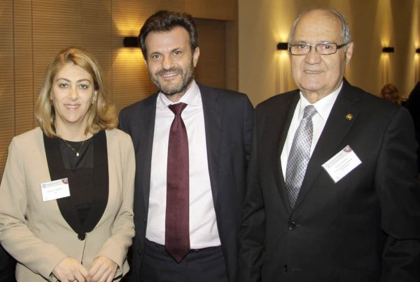 I. Stavropoulos with K. Savvaidou and S. Costas at the Finance and Tax Conference, organized by the Hellenic Management Association, November 2015